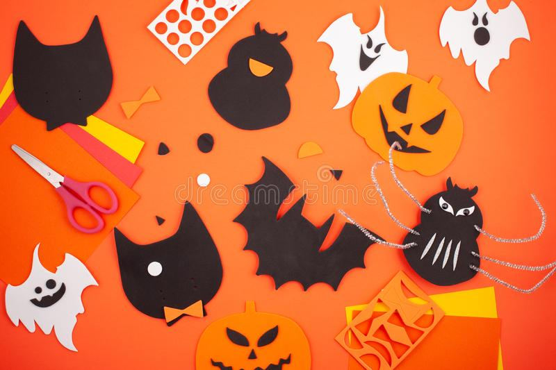 Flat lay of accessory decoration Happy Halloween festival background concept. Flat lay of DIY accessories decoration Happy Halloween festival background concept royalty free stock photo
