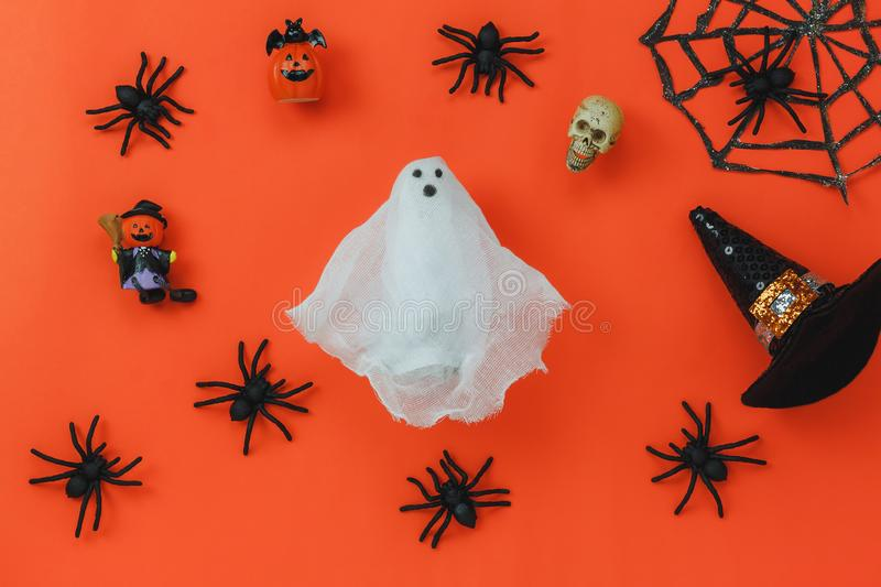 Flat lay of accessory decoration Happy Halloween festival background concept. stock photography