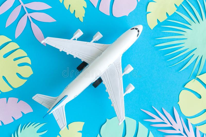 Flat lay of airplane model toy with colorful tropical leaves made of paper minimal travel and summer vacation concepts stock photo