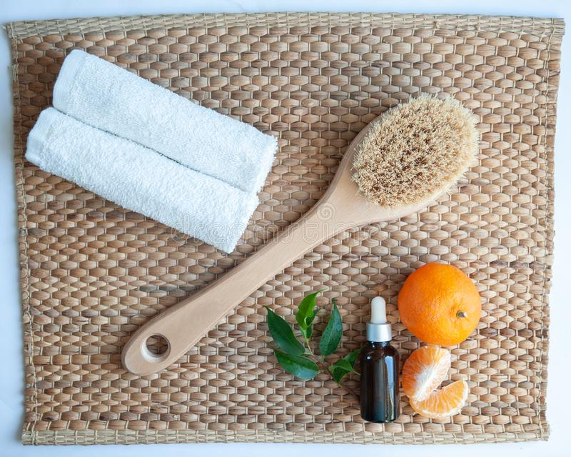 Flat lay Anticellulite, organic, bio, natural cosmetics. Remedy for cellulite massage, spa. stock photography