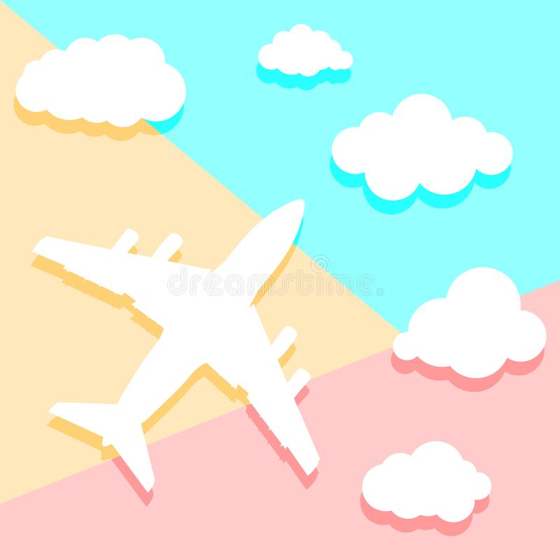 Flat lay art design graphic image of paper airplane with clouds vector illustration
