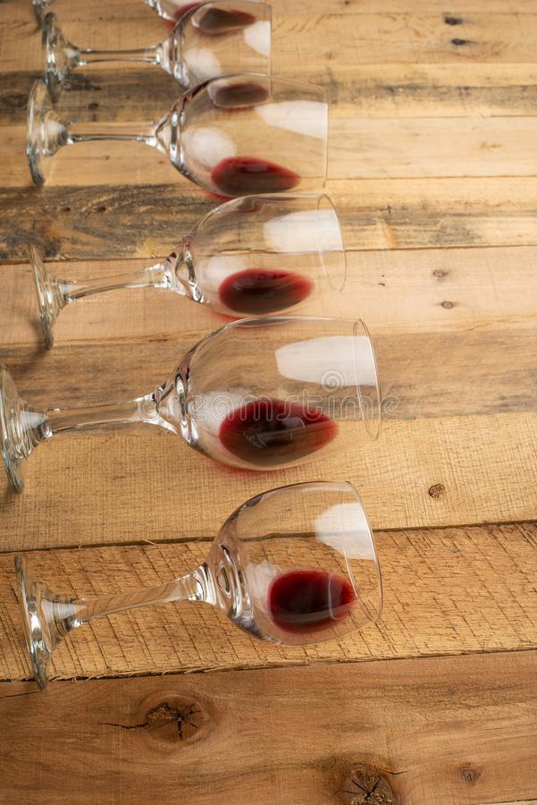 Flat lay background with glasses with red wine, Concept of wine degustation, winery, winery, wine bar, party.  royalty free stock photography