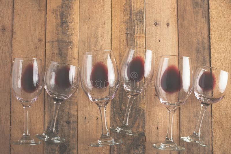 Flat lay background with glasses with red wine, Concept of wine degustation, winery, winery, wine bar, party.  stock photos