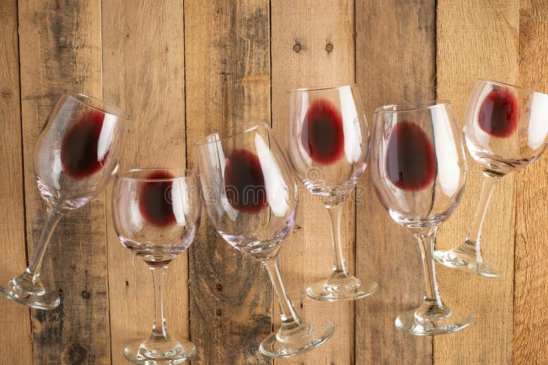 Flat lay background with glasses with red wine, Concept of wine degustation, winery, winery, wine bar, party.  stock photography