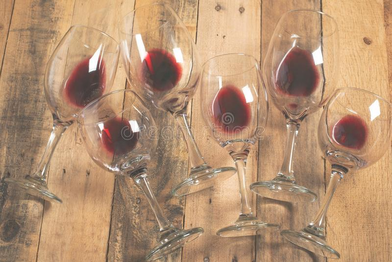 Flat lay background with glasses with red wine, Concept of wine degustation, winery, winery, wine bar, party.  royalty free stock image