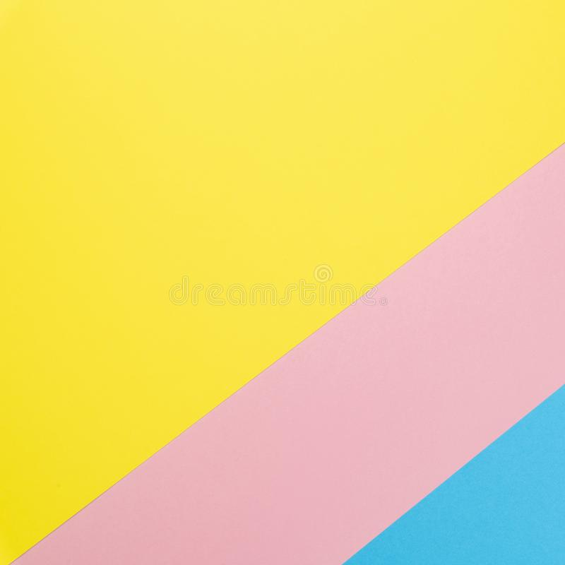 Flat lay background made of pastel colorful paper. Abstract colour line. Minimal concept geometric background.  royalty free stock images