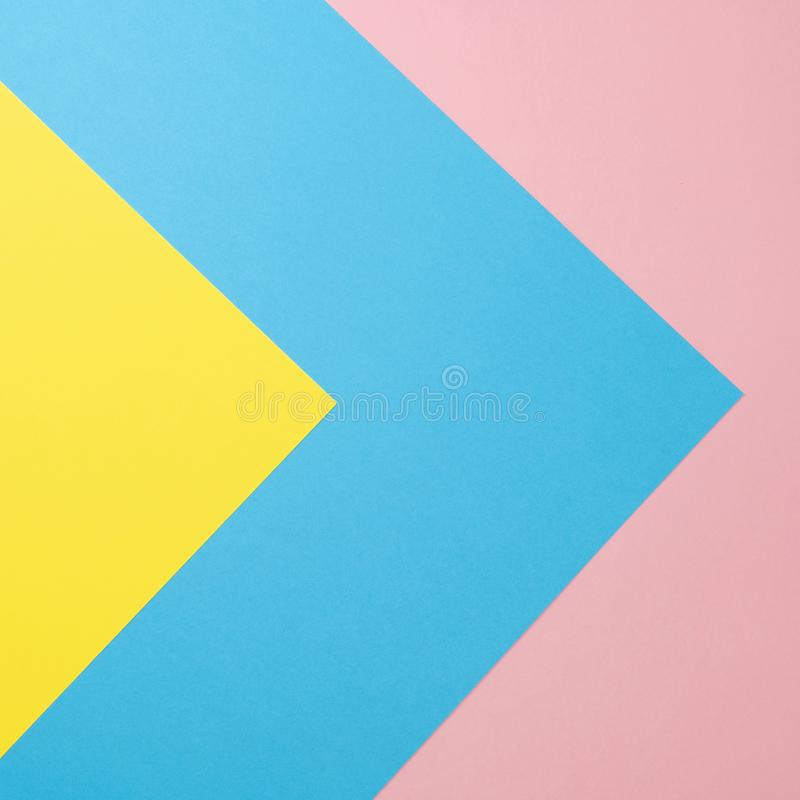 Flat lay background made of pastel colorful paper. Abstract colour line. Minimal concept geometric background.  stock image