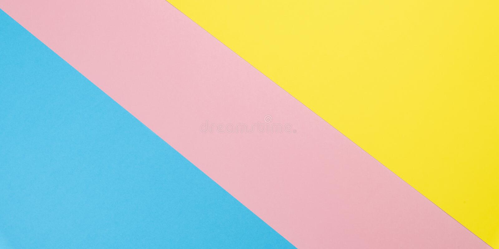 Flat lay background made of pastel colorful paper. Abstract colour line. Minimal concept geometric background.  stock photography