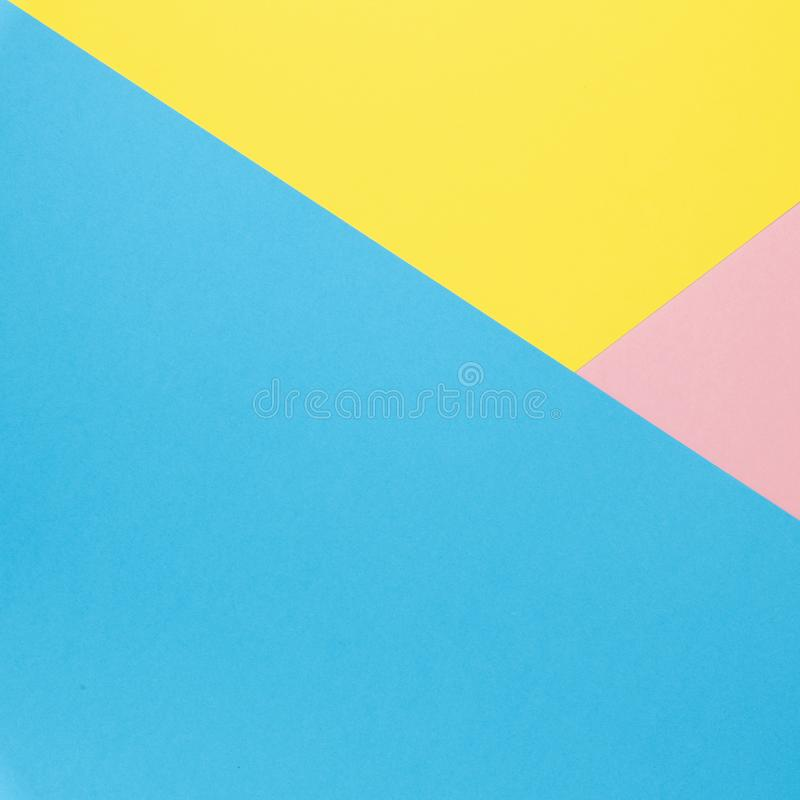 Flat lay background made of pastel colorful paper. Abstract colour line. Minimal concept geometric background.  stock photo
