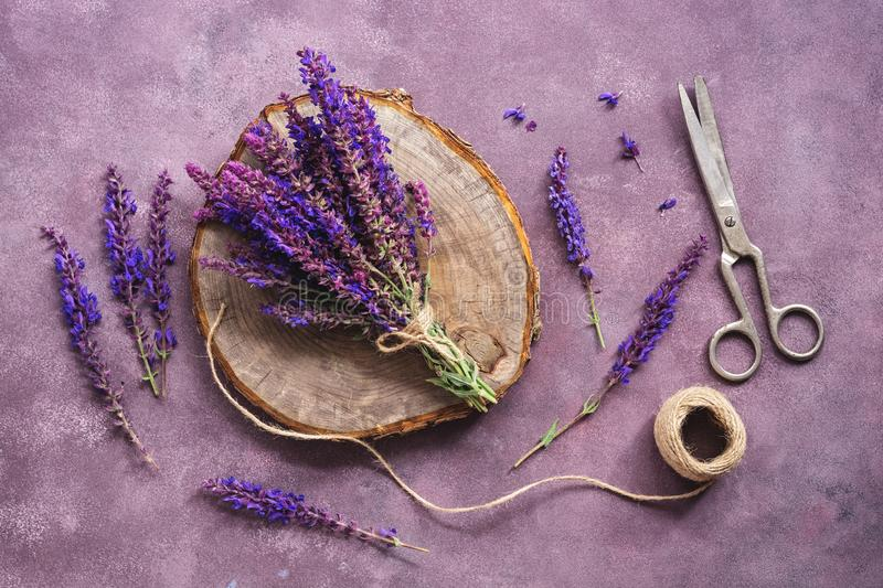 Flat lay a bouquet of purple wildflowers of sage, an empty wooden stump and scissors on a beautiful rustic purple background. Vintage composition making a royalty free stock images