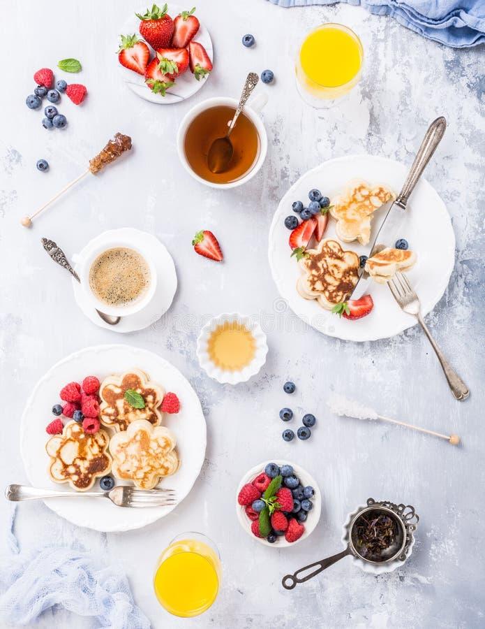 Breakfast with scotch pancakes stock photos