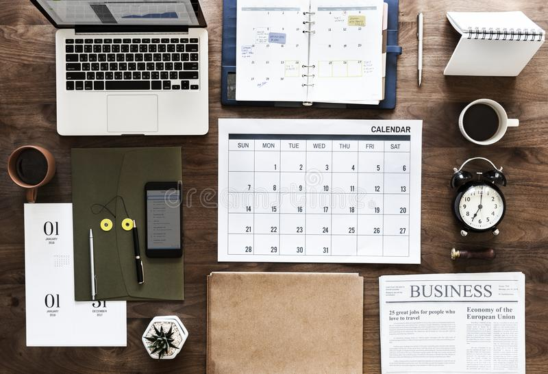 Flat lay of business agenda royalty free stock photo
