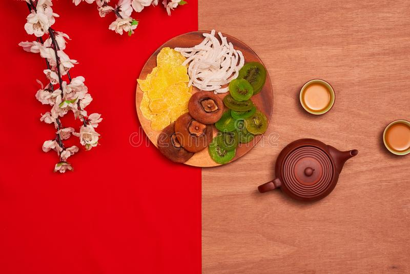 Flat lay Chinese new year new year table top shot. Toddler steal stock photo