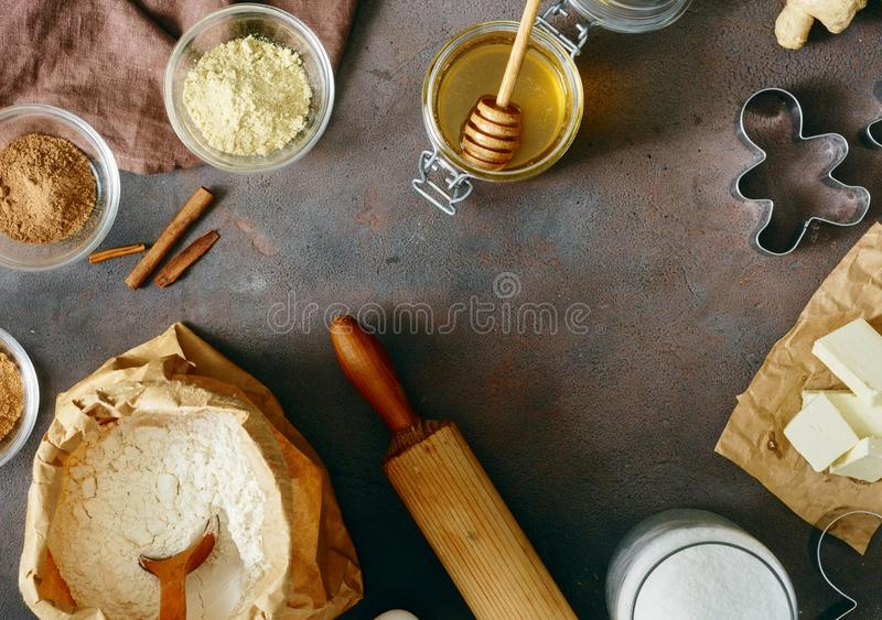 Flat lay christmas food concept Frame raw ingredients cooking gi royalty free stock photos