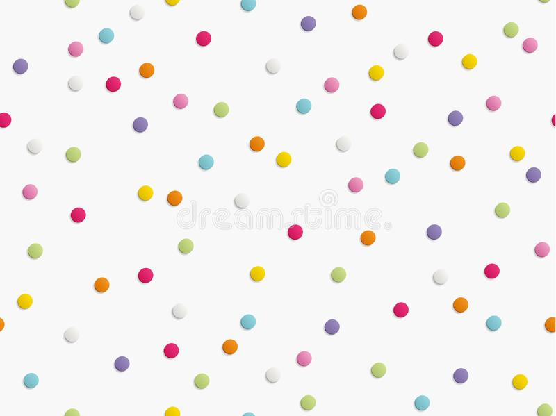 Flat lay of colorful round paper confetti on white background. Seamless pattern. Vector illustration. Flat lay of colorful round paper confetti on white royalty free illustration