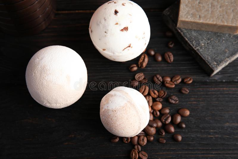 Flat lay composition with bath bombs, soap bars and coffee beans stock photography