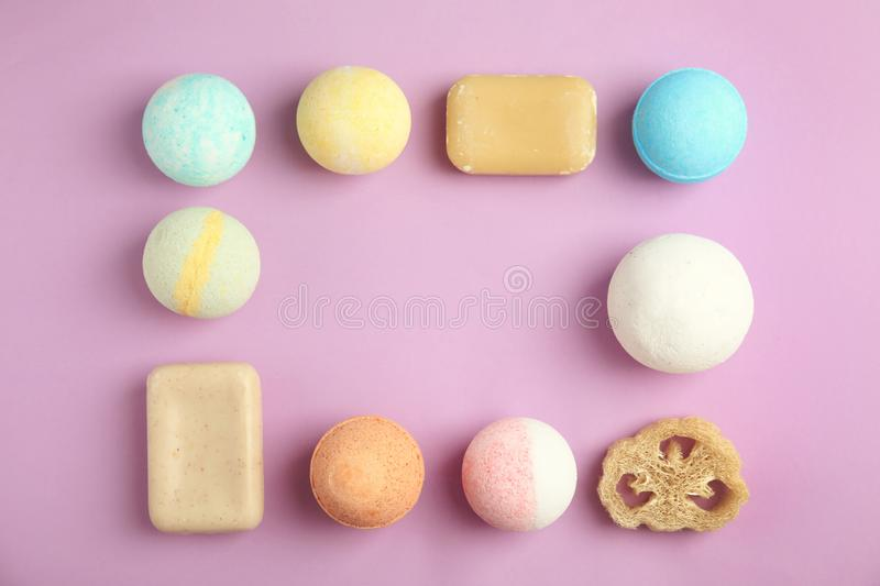 Flat lay composition with bath bombs, soap bars and space for text royalty free stock photos