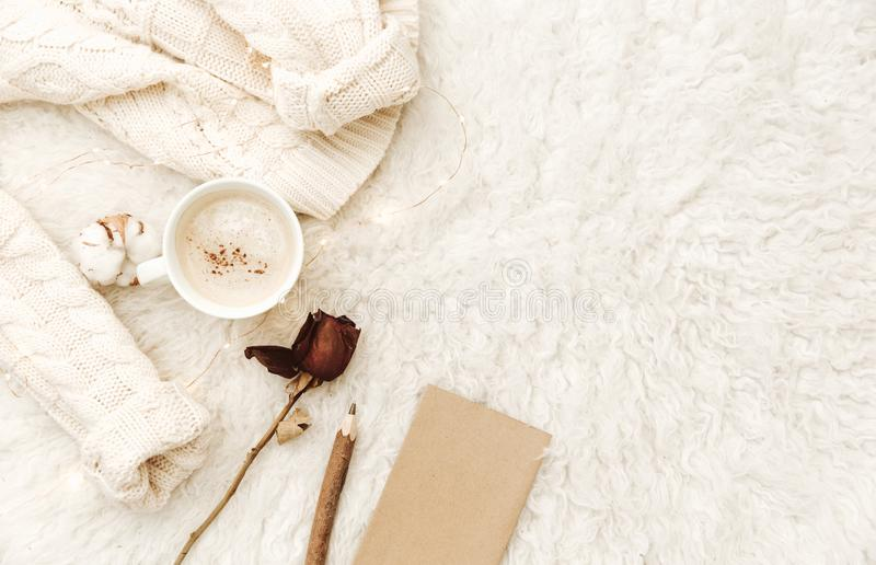 Flat lay composition for blogger, cozy home, hipster morning, royalty free stock photography