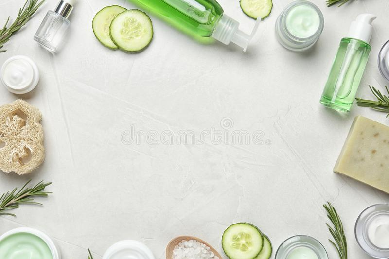 Flat lay composition with body care products. And space for text on light background stock images