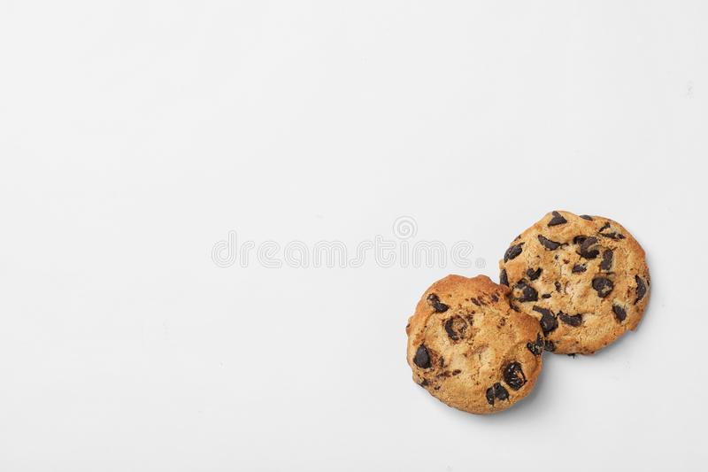 Flat lay composition with chocolate cookies and space for text stock photography