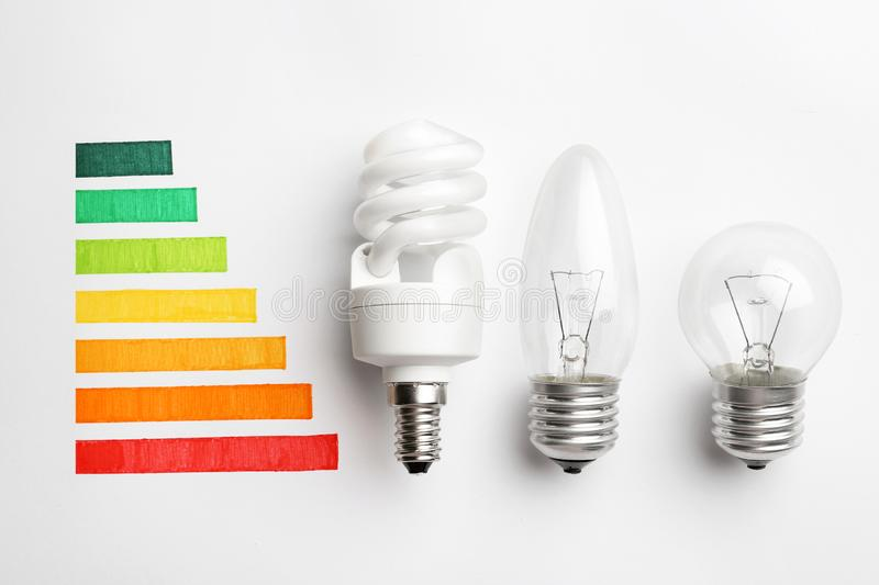 Flat lay composition with colorful chart and lamp bulbs. Energy efficiency concept stock photography
