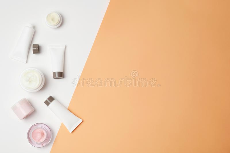 Flat lay composition with cosmetic products royalty free stock images