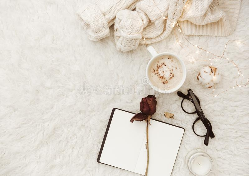 Flat lay composition with cup if coffee and notebook stock photo
