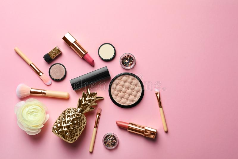 Flat lay composition with decorative cosmetics royalty free stock images