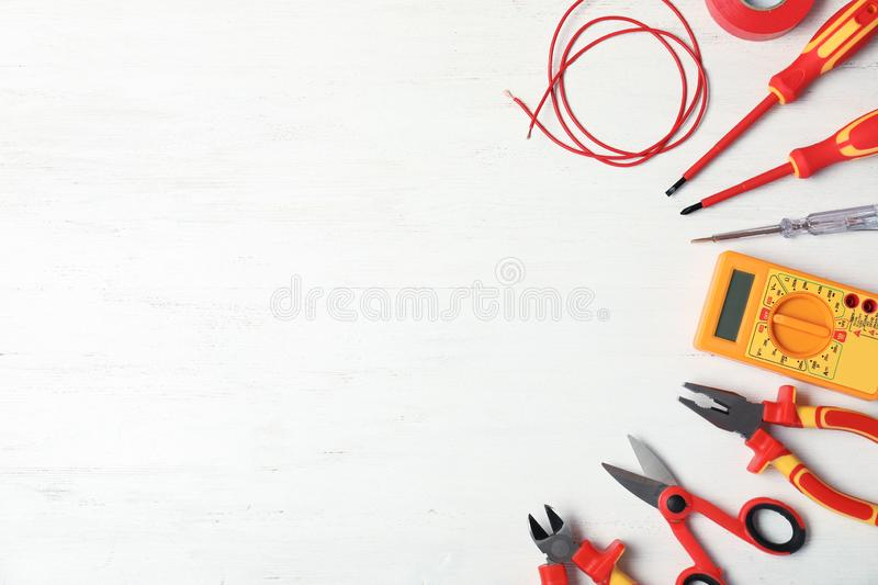 Flat lay composition with electrician`s tools stock photos