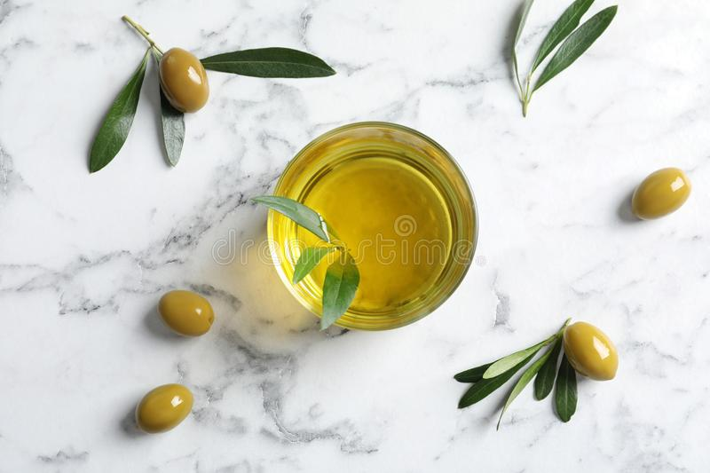 Flat lay composition with fresh olive oil royalty free stock photos