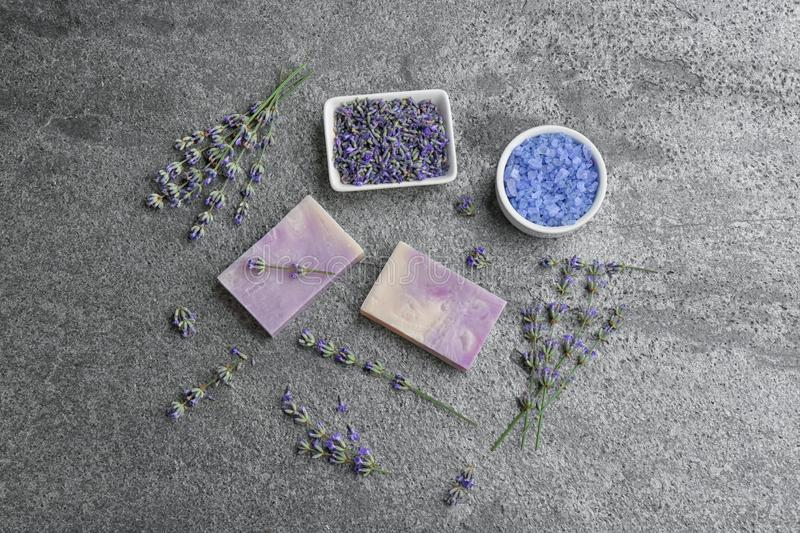 Flat lay composition with hand made soap bars and lavender flowers royalty free stock photos