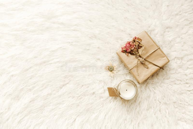 Flat lay composition with handmade craft wrapped gift stock image