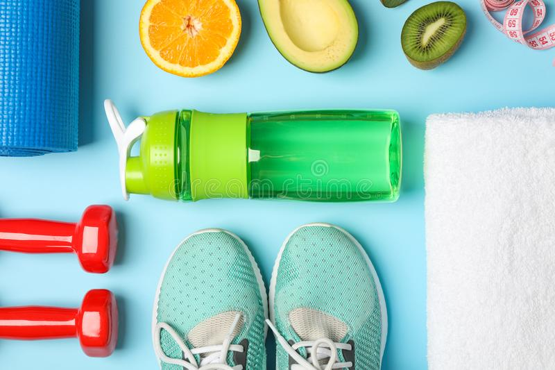 Flat lay composition with loss weigh accessories stock photo