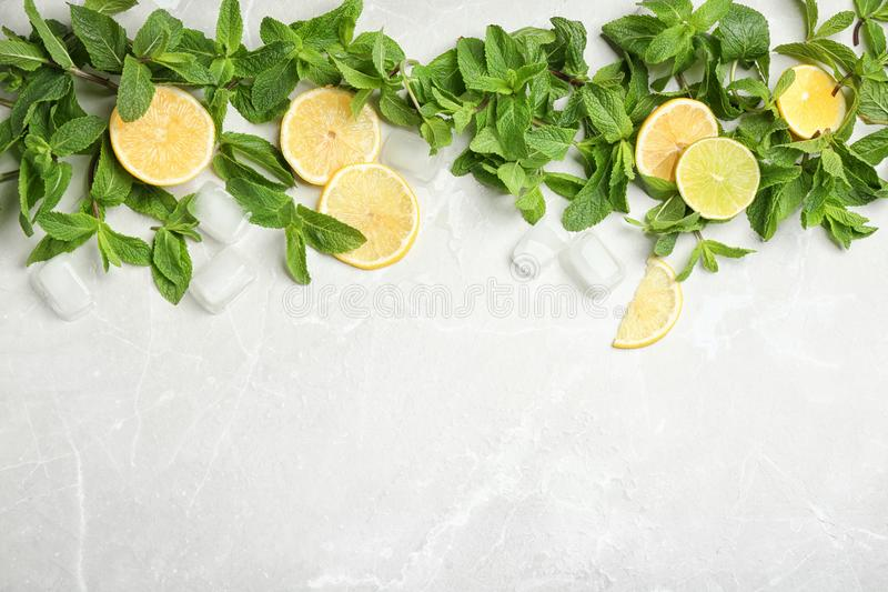 Flat lay composition with mint, citrus fruit and ice cubes royalty free stock image