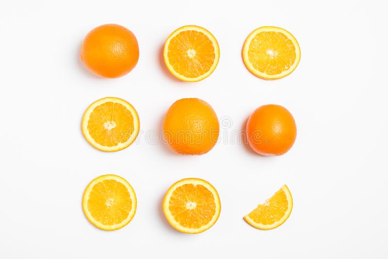 Flat lay composition with oranges on white background royalty free stock photography