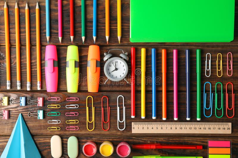 Flat lay composition with school supplies royalty free stock photos