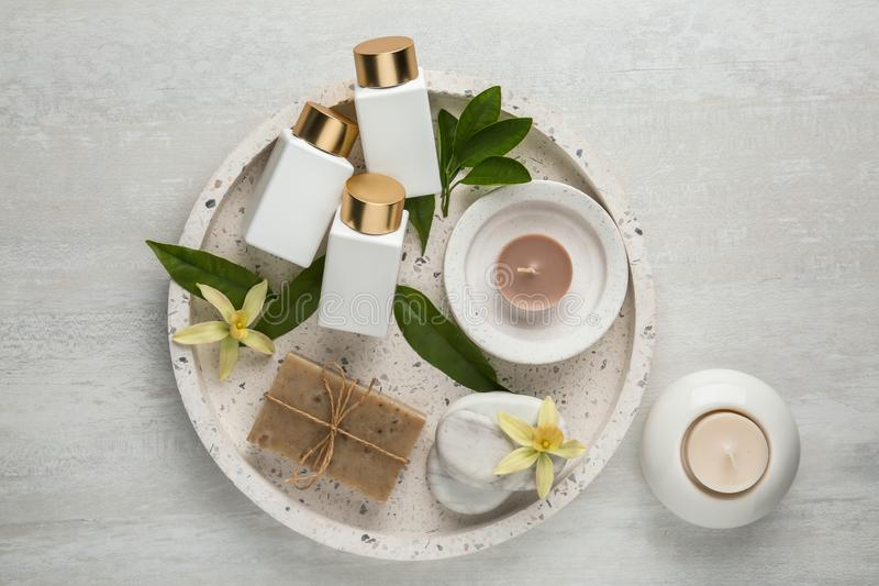 Flat lay composition with spa supplies on wooden. Table stock image
