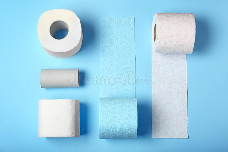 Flat lay composition with toilet paper. On color background royalty free stock photos