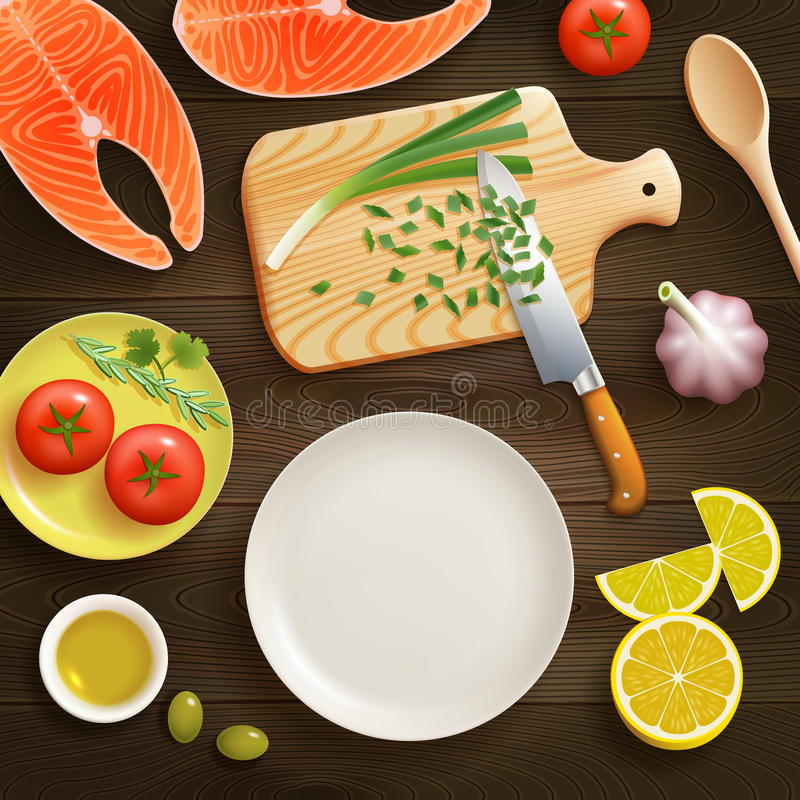Flat Lay Cooking Dark Background Image. Cooking fish dish flat lay photo composition with chopped young onion on cutting board dark background vector royalty free illustration