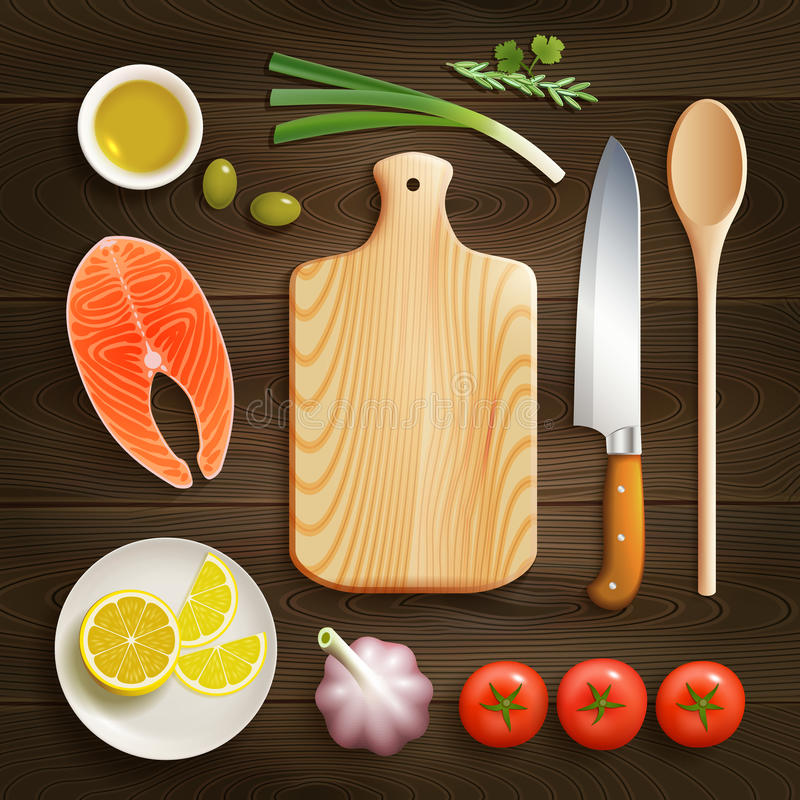 Flat Lay Cooking Dark Background Image. Cooking theme flat lay photo composition with cutting board raw salmon and lemon dark background vector illustration royalty free illustration