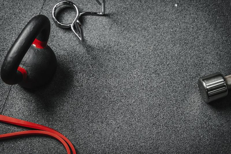 Flat lay crossfit gym equipment. copy space. Flat lay crossfit gym equipment. Sport, fitness, workout concept background, top view with copy space royalty free stock images