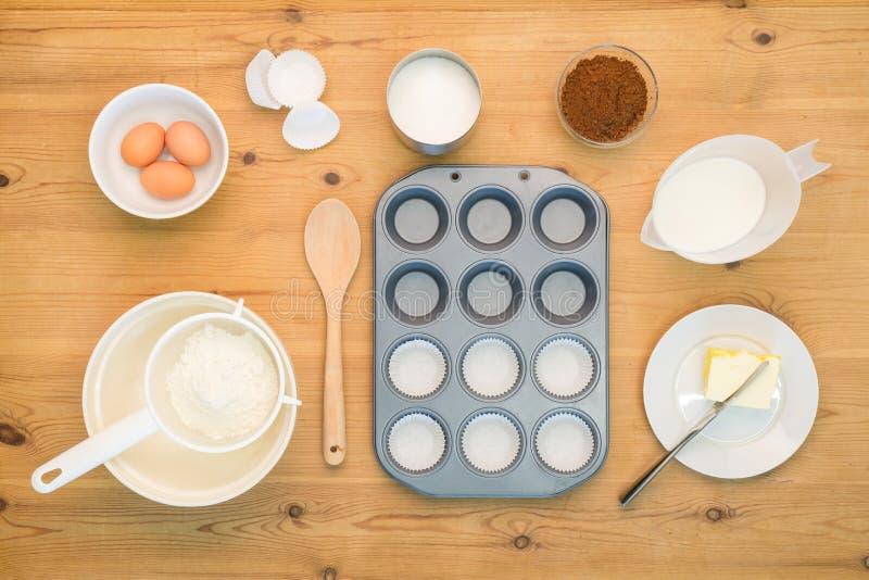 Flat lay Cup cake making ingredients. stock photos