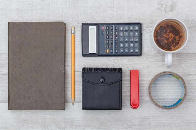 Flat lay: diary and calculator royalty free stock photos
