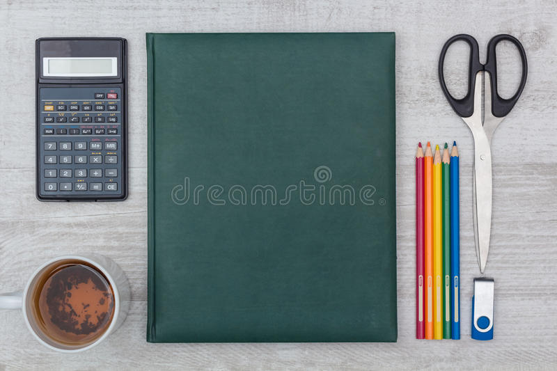 Flat lay: diary and calculator royalty free stock photo