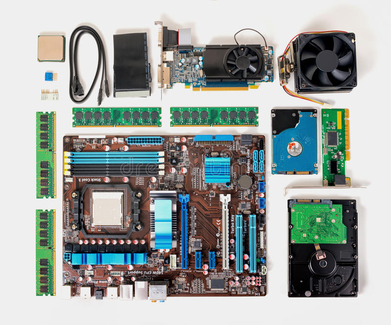 Flat lay of disassembled pc computer, laptop, concept of repair. And assembly, close up royalty free stock photography