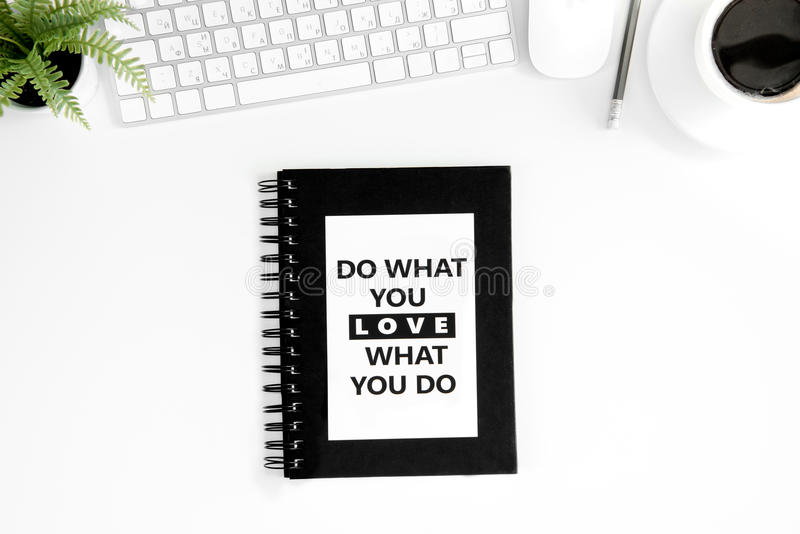Download Flat Lay With Do What You Love What You Do Motivational Quote On  Diary Stock