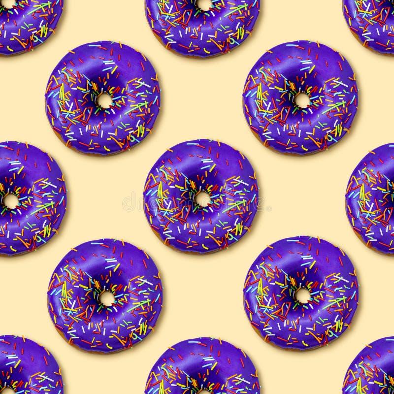 Flat lay donuts seamless pattern stock image