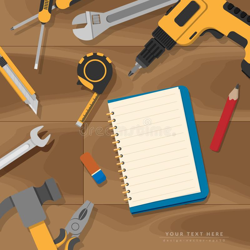 Flat lay of empty blank book page for copy space with home tools set on rustic wooden background.  stock illustration