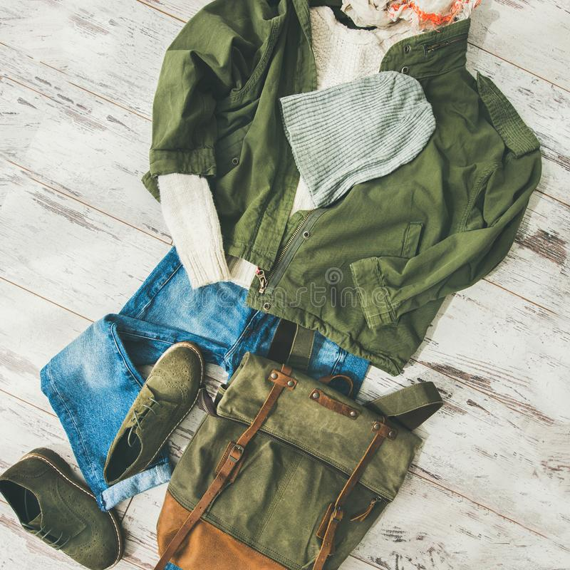 Flat-lay of Fall lady` s clothes outfit, square crop royalty free stock photos