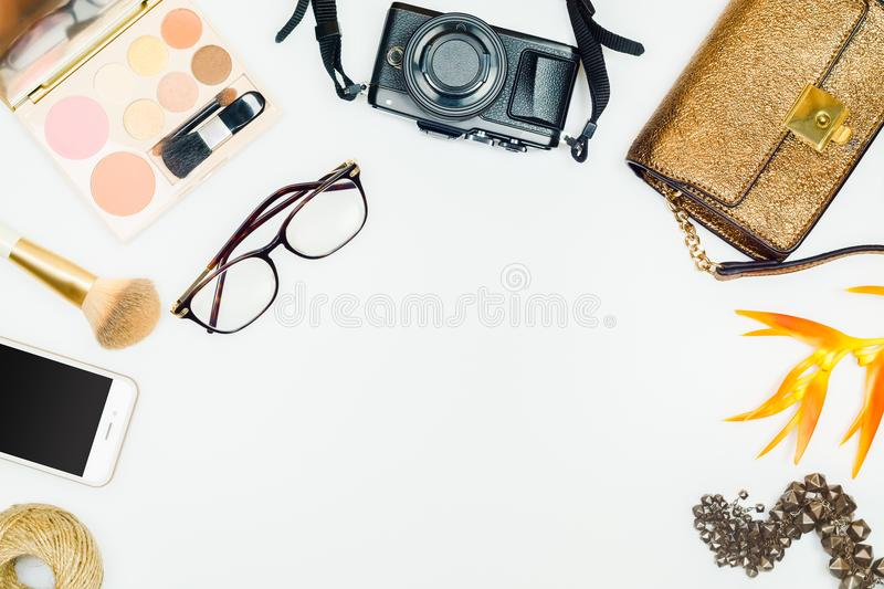 Flat lay of fashion woman. Feminine cosmetic background. Overhead of essentials fashion woman accessories. Women clothing set and royalty free stock photos